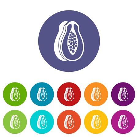 Papaya set icons Illustration