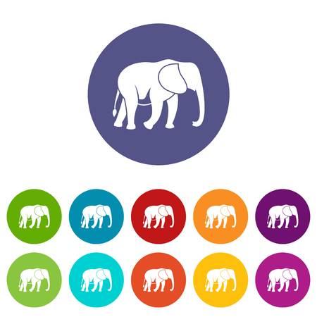srilanka: Wild elephant set icons Illustration