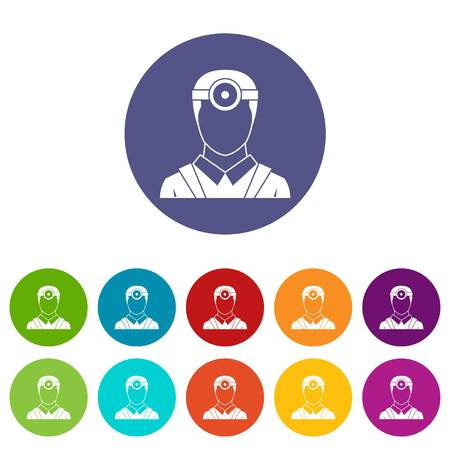 optician: Ophthalmologist with head mirror set icons