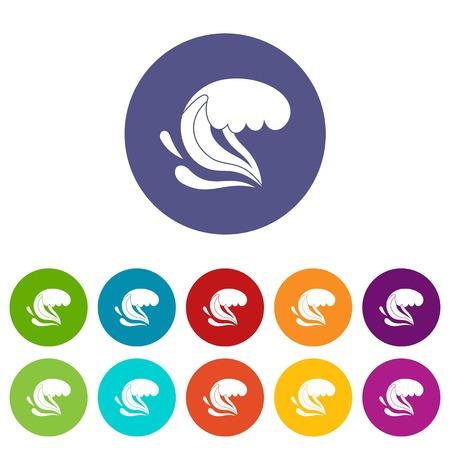 Surf wave set icons 向量圖像