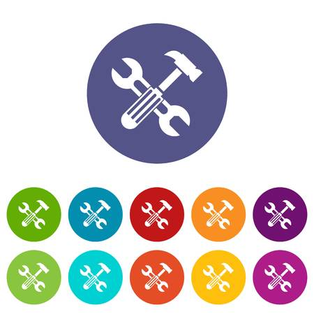 Hammer and screw wrench set icons