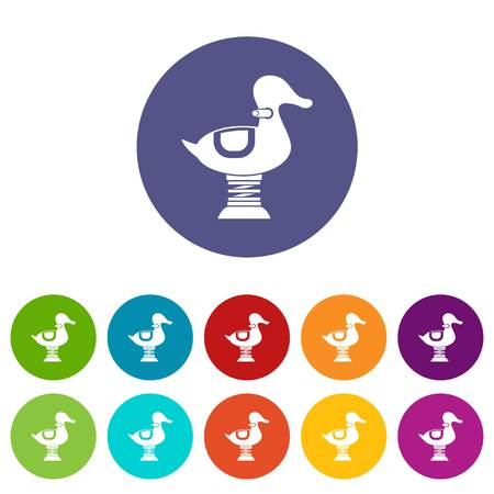 Duck spring see saw set icons Illustration