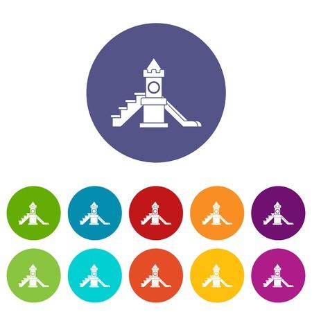 Slider, kids playground equipment set icons Illustration