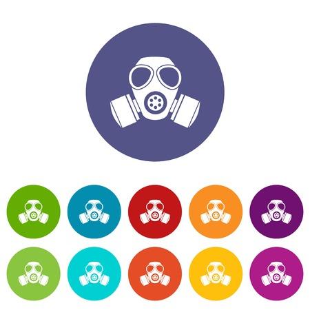 Chemical gas mask set icons