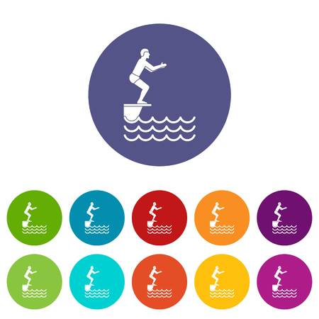 springboard: Man standing on springboard set icons Vectores