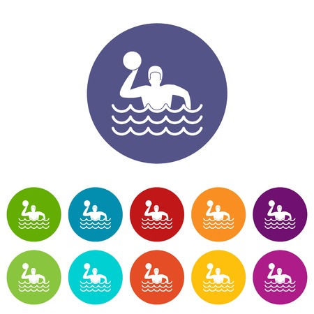 swimming cap: Water polo set icons