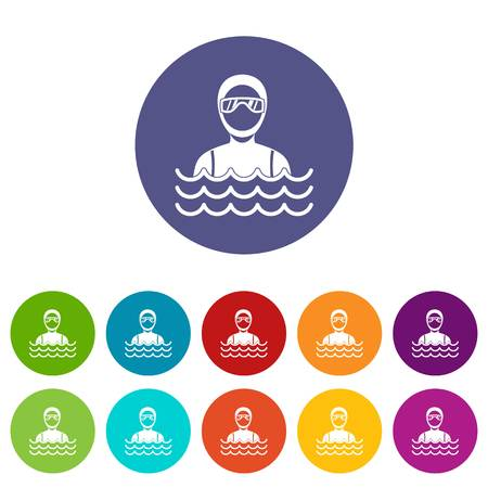 Scuba diver man in diving suit set icons