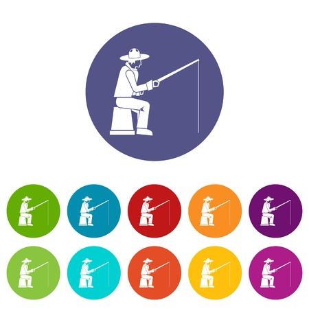 Fisherman with a fishing rod set icons Illustration