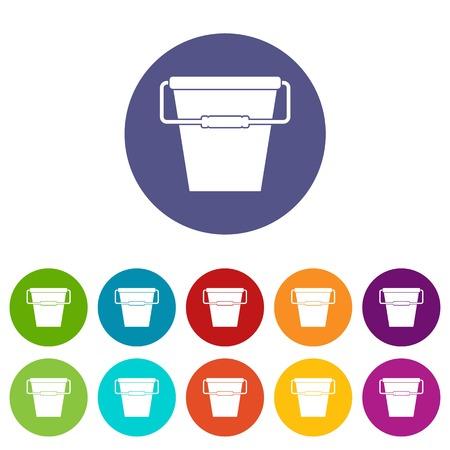 Empty bucket set icons Illustration