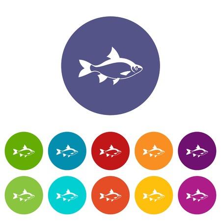River fish set icons Illustration