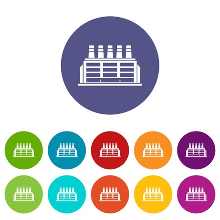 Manufacturing factory building set icons