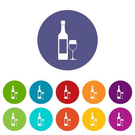 Bottle of wine set icons