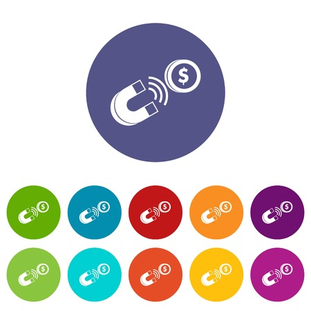 science symbols metaphors: Magnet with coin set icons
