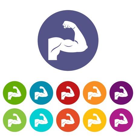 Biceps set icons Illustration