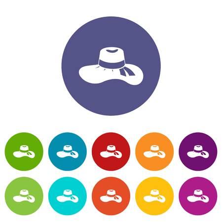 Vrouw hoed set iconen