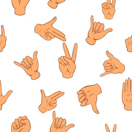 Gesture pattern. Cartoon illustration of gesture vector pattern for web