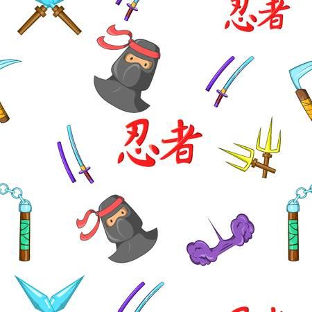 Ninja pattern. Cartoon illustration of ninja vector pattern for web