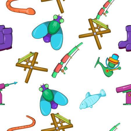 worm gear: Hunting for fish pattern. Cartoon illustration of hunting for fish vector pattern for web