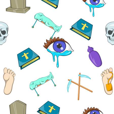 fatality: Funeral services pattern. Cartoon illustration of funeral services vector pattern for web