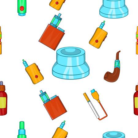 Electronic cigarette pattern. Cartoon illustration of electronic cigarette vector pattern for web Illustration