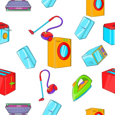 Home appliances pattern. Cartoon illustration of home appliances vector pattern for web Illustration