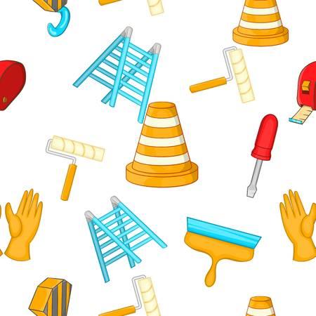 Building tools pattern, cartoon style Illustration