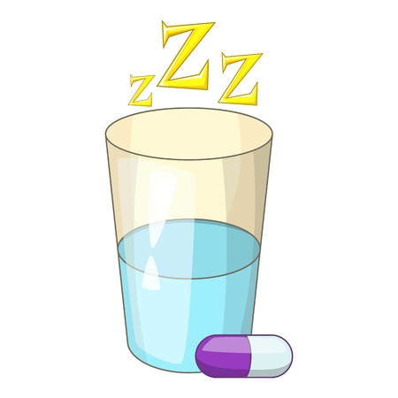 Sleeping pill icon. Cartoon illustration of sleeping pill vector icon for web