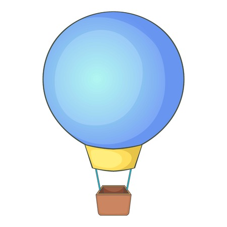 blimp: Flying balloon icon. Cartoon illustration of flying balloon vector icon for web