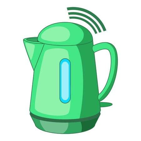 Plastic electric kettle with wi fi connection icon. Cartoon illustration of plastic electric kettle with wi fi connection vector icon for web