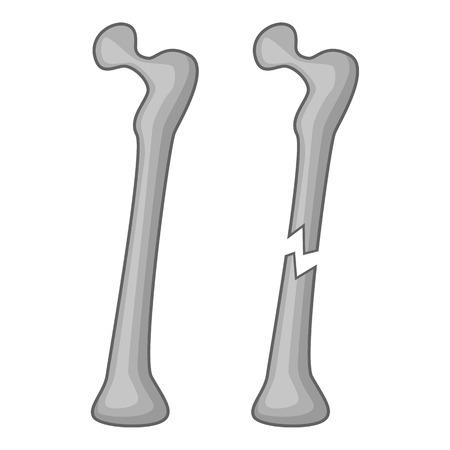 hip fracture: Broken bone icon. Cartoon illustration of broken bone vector icon for web
