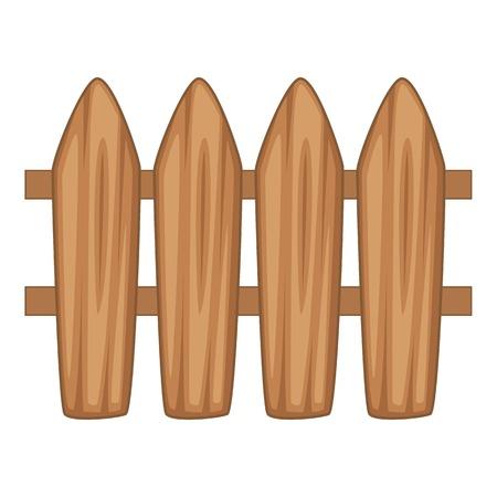 Brown wooden picket fence icon. Cartoon illustration of brown wooden picket fence vector icon for web