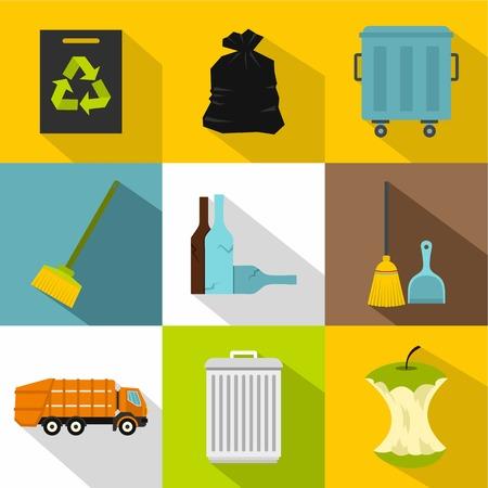 bag of soil: Trash icons set. Flat illustration of 9 trash vector icons for web