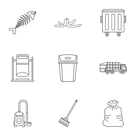 Waste icons set. Outline illustration of 9 waste vector icons for web