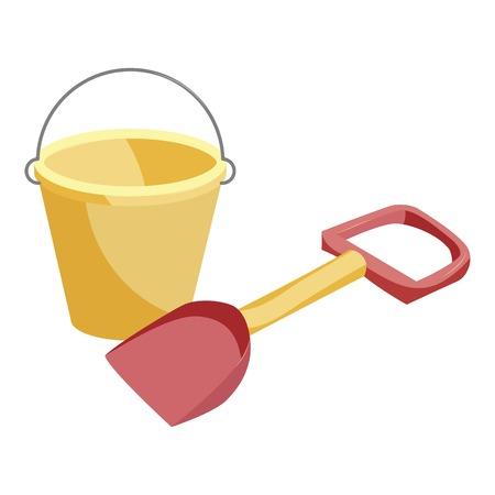 Bucket and shovel toys icon. Cartoon illustration of bucket and shovel toys vector icon for web Illustration