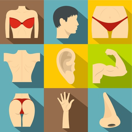 Outer part of body icons set. Flat illustration of 9 outer part of body vector icons for web
