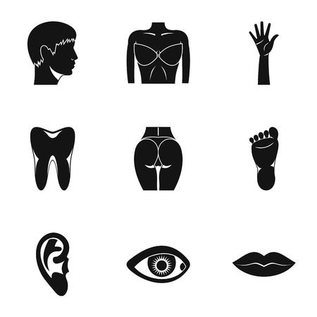 Outer part of body icons set. Simple illustration of 9 outer part of body vector icons for web