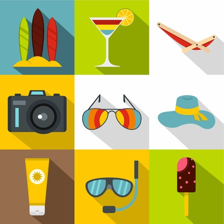 brolly: Travel to sea icons set. Flat illustration of 9 travel to sea vector icons for web
