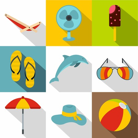 brolly: Journey to sea icons set. Flat illustration of 9 journey to sea vector icons for web