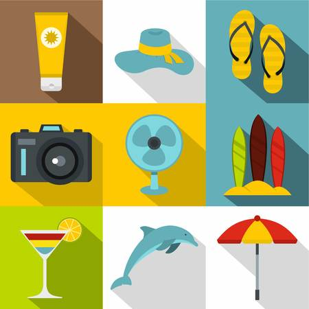 brolly: Trip to sea icons set. Flat illustration of 9 trip to sea vector icons for web Illustration