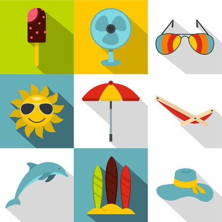 brolly: Rest on sea icons set. Flat illustration of 9 rest on sea vector icons for web