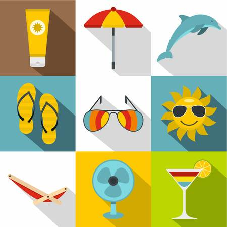 brolly: Tourism at sea icons set. Flat illustration of 9 tourism at sea vector icons for web