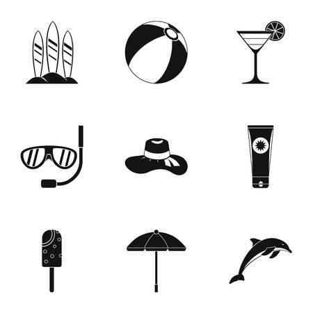 brolly: Travel to sea icons set. Simple illustration of 9 travel to sea vector icons for web