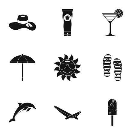 brolly: Journey to sea icons set. Simple illustration of 9 journey to sea vector icons for web Illustration
