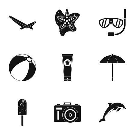 longue: Trip to sea icons set. Simple illustration of 9 trip to sea vector icons for web Illustration