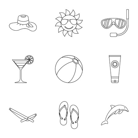 brolly: Tourism at sea icons set. Outline illustration of 9 tourism at sea vector icons for web