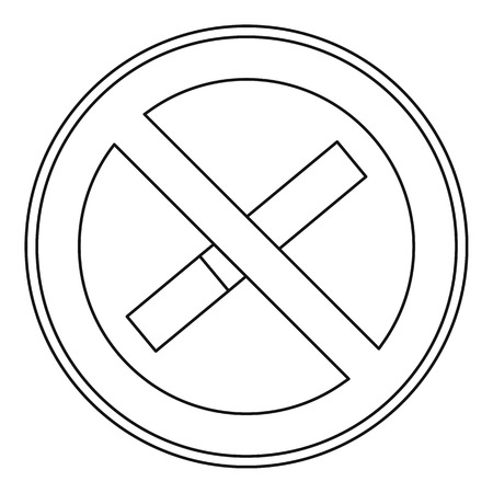 smoke alarm: No smoking sign icon. Outline illustration of no smoking sign vector icon for web