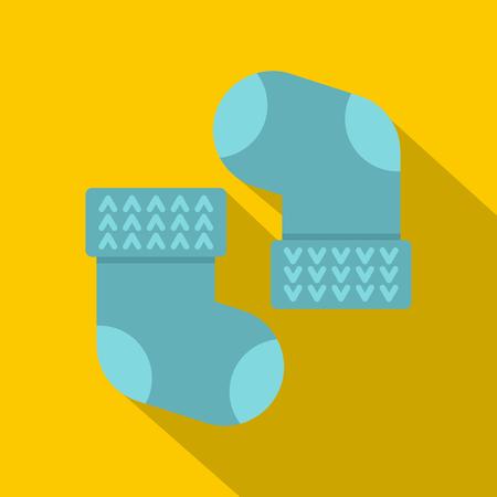 Pair of blue baby socks icon. Flat illustration of pair of blue baby socks vector icon for web on yellow background