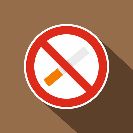 No smoking icon. Flat illustration of no smoking vector icon for web on coffee background