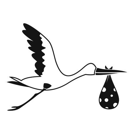 Storch mit Symbol. Einfache Illustration der tragenden Vektorikone des Storchs für Netz Standard-Bild - 70429870
