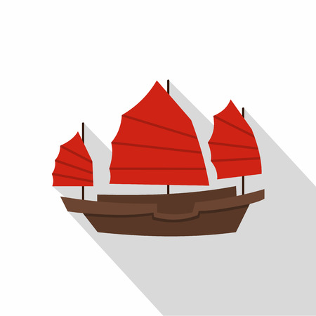 hong kong harbour: Chinese boat with red sails icon. Flat illustration of chinese boat with red sails vector icon for web on white background Illustration